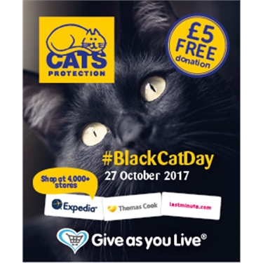 Shop via Give as You Live on National Black Cat Day
