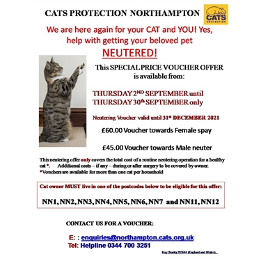 September Neutering voucher offer