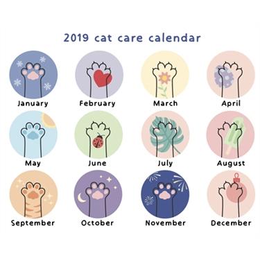 2019 Pet care calendar