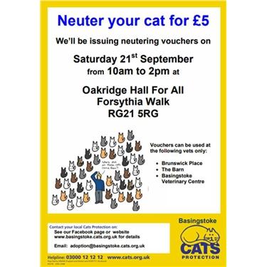 £5 Neutering vouchers:  available on 21 September