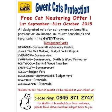 Free Neutering Campaign in Gwent