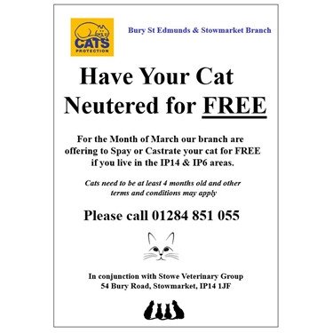 Live in IP6 or IP14? Free neutering in March!