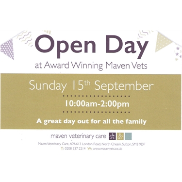 Maven Vet Open Day Sunday 15th