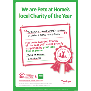 """We have been chosen by Pets at Home Bracknell as their """"Charity of the Year""""!"""