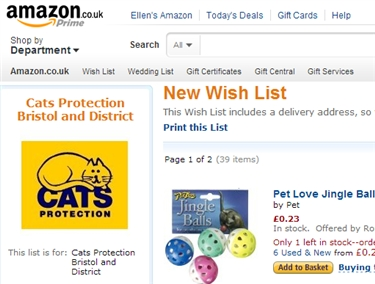 Amazon Wish List for the Bristol and District branch of Cats Protection