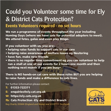 We are looking for volunteers to help at our events