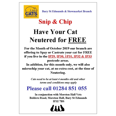 Free Neutering in selected areas