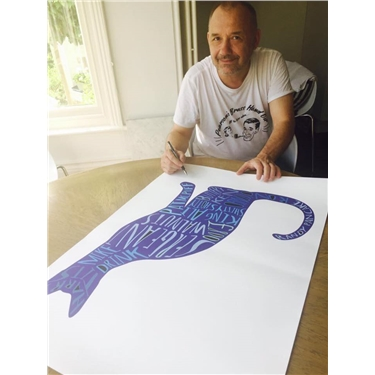 Get your paws on a signed Bob Mortimer cat print
