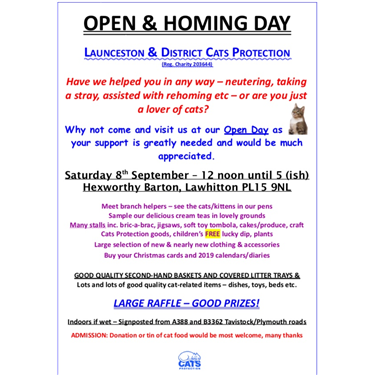 Open & Homing Day - Saturday 8th September
