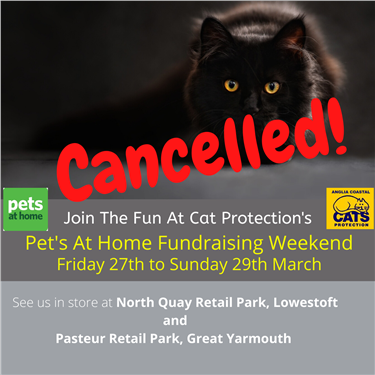 Pets At Home Fundraising Weekend CANCELLED
