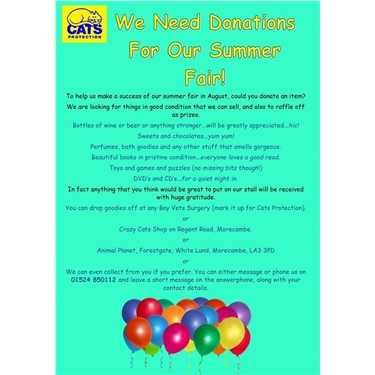 Donations needed for our Summer Fair