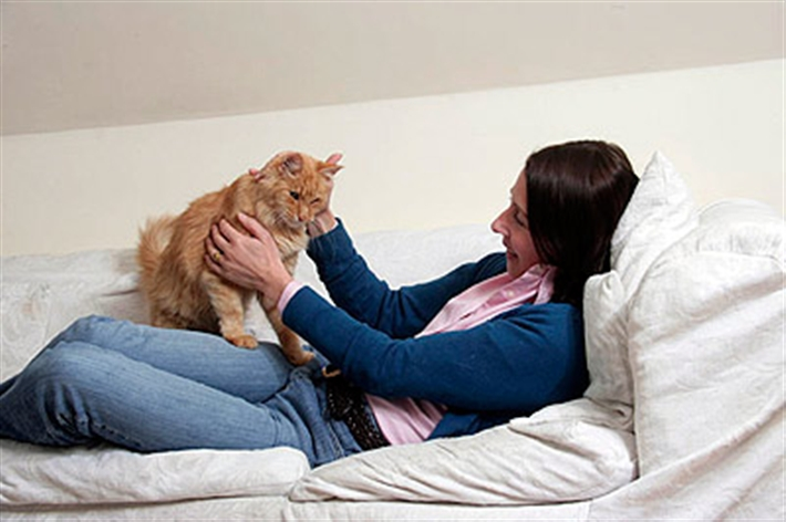 woman lying on a sofa with her cat