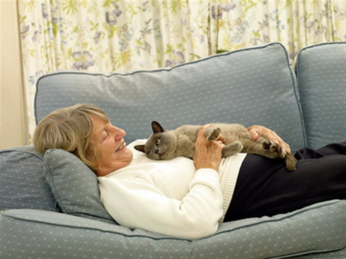Lady on the sofa with her cat