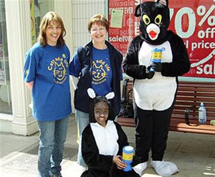A group of volunteers at a street collection.