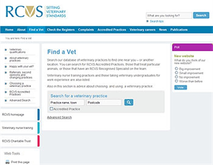 RCVS find a vet page